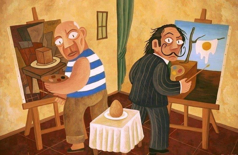 Picasso _ and _ dali - painting-egg - Points of view _ HUMOR _ artodyssey.jpg